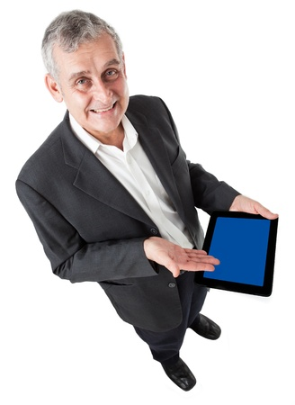 business man with modern tablet pc, Touch pad , smart phone photo