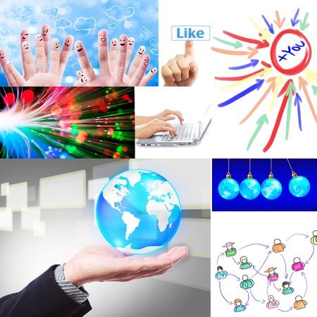 social network collage set  Foto de archivo