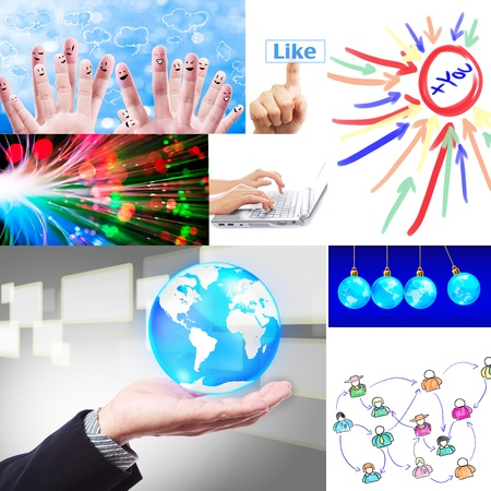 online marketing: social network collage set  Stock Photo