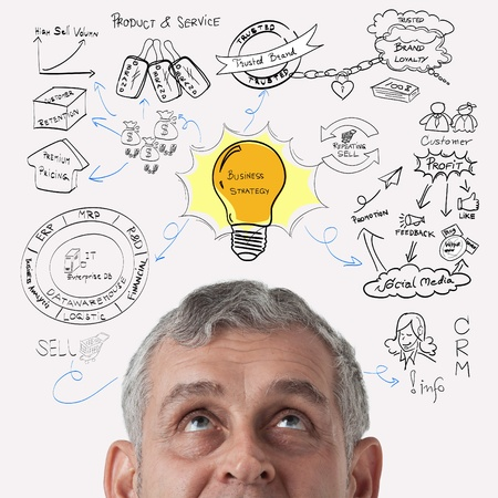 business process: Business man thinking to business process strategy Stock Photo