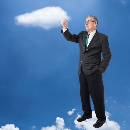 businessman works with cloud computer photo