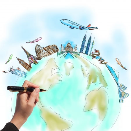 drawing the dream travel around the world in a whiteboard Stock Photo - 12397106