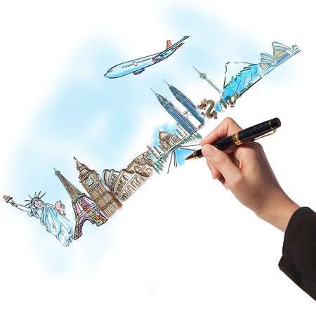 drawing the dream travel around the world in a whiteboard photo