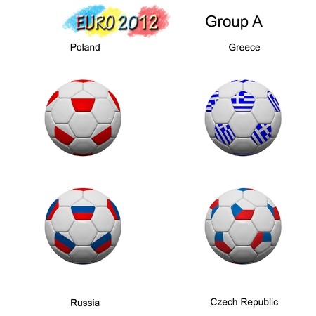 Soccer ball of final team  in Euro 2012  category by group Stock Photo - 12397046