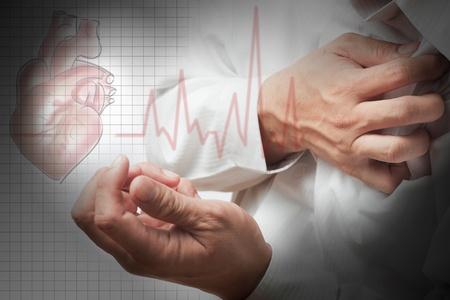 angina: Ataque al corazón y el corazón late de fondo cardiograma