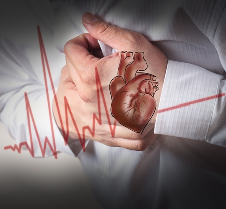 chest pain: Heart Attack and heart beats cardiogram background
