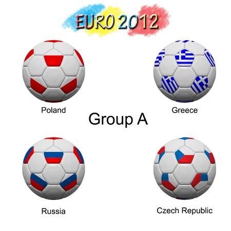 Soccer ball of final team  in Euro 2012  category by group Stock Photo - 12397054