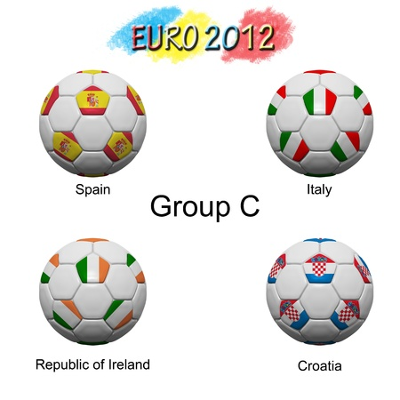 Soccer ball of final team  in Euro 2012  category by group Stock Photo - 12397070