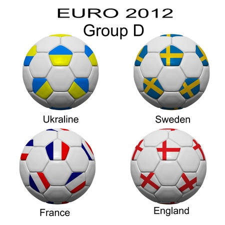 Soccer ball of final team  in Euro 2012  category by group Stock Photo - 12397032