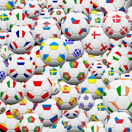 Soccer ball of final team  in Euro 2012  background photo