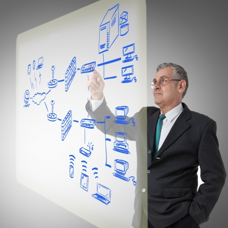 businessman touching a security plan for a firewall system photo