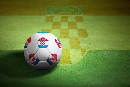 Flag of Croatia with soccer ball over grass background - Euro 2012 championship photo