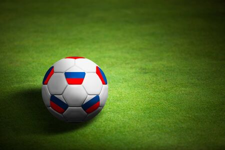 Flag of Russia with soccer ball over grass background - Euro 2012 championship Stock Photo - 12397157