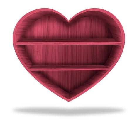 Wooden heart  shelf  Stock Photo - 12391123