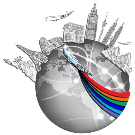 dream travel around the world in a whiteboard Standard-Bild