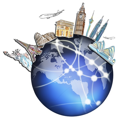 onderwijs: droom reis rond de wereld in een whiteboard Stockfoto