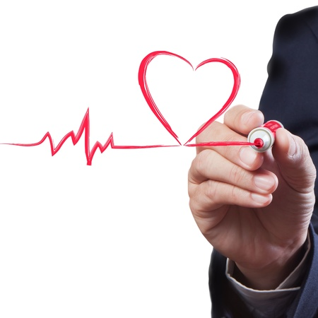 tachycardia: businessman drawing heart breath line, Medical concept Stock Photo