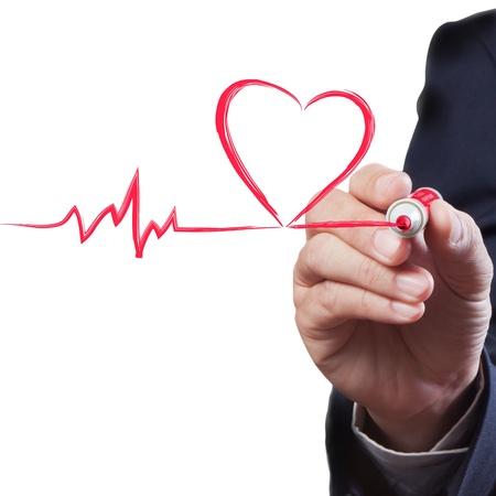 businessman drawing heart breath line, Medical concept Standard-Bild