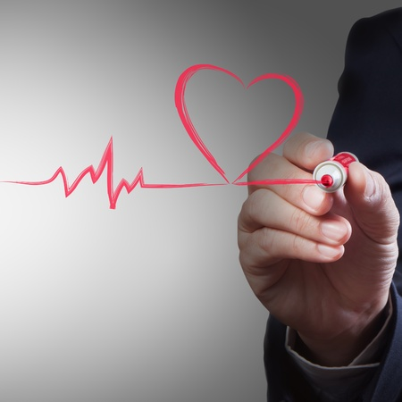 breath: businessman drawing heart breath line, Medical concept Stock Photo