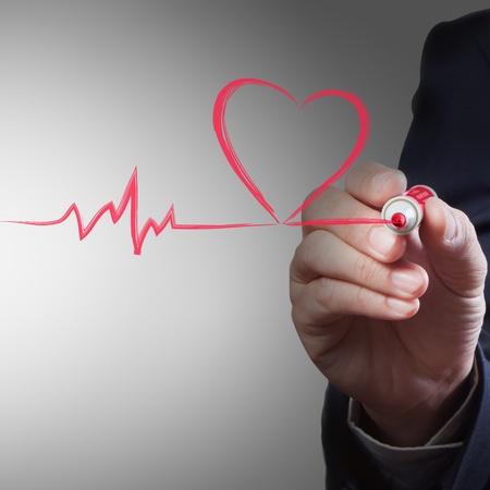 tachycardia: dibujo de negocios del coraz�n el aliento de l�nea, el concepto m�dico Foto de archivo