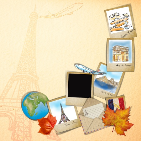 drawing famouse landmark of France in photo frame photo
