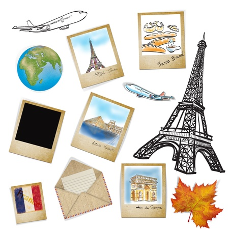 Arc de Triomphe: drawing famouse landmark of France in photo frame Stock Photo