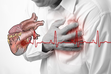 attacks: Heart Attack and heart beats cardiogram background