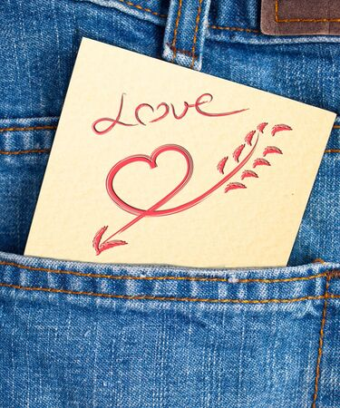 love in pocket of jean Stock Photo - 12964657