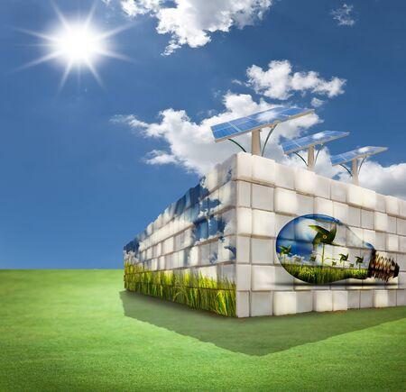 Modern building on green field photo