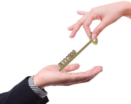 business man offering key to success to others Stock Photo - 12961433