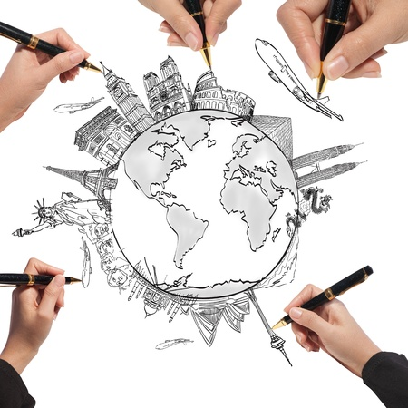 drawing the dream travel around the world in a whiteboard