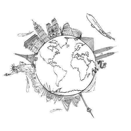 negocios internacionales: dibujar el sue�o de viajar alrededor del mundo en una pizarra