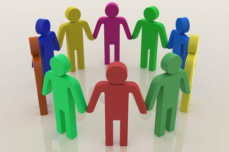linked hands: 3D Team, Work together concept