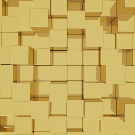3D cube golden background photo