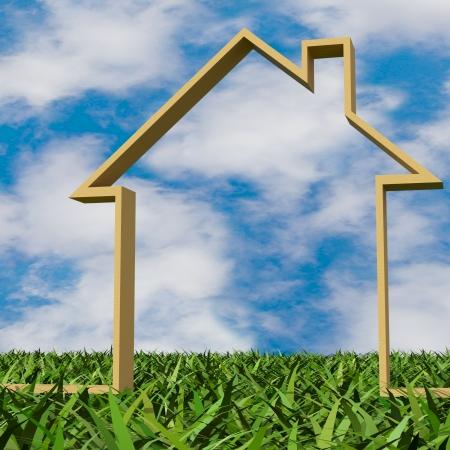 3D wooden house on grass Standard-Bild