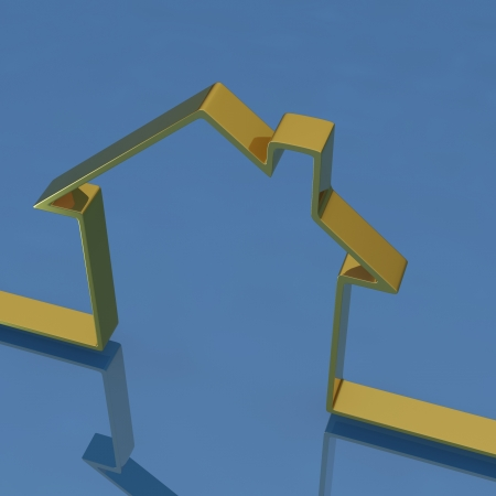 norm: 3D golden house on blue background