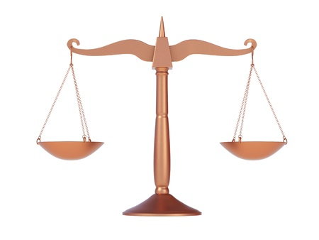 classic scales of justice, isolated on white background photo