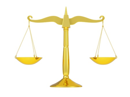 classic golden scales of justice, isolated on white background photo
