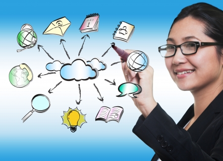 google plus: business woman hand drawing cloud network sharing