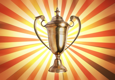 incentive: success concept , winner trophy on old antique vintage paper background