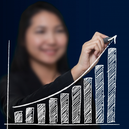 Business woman drawing growthing arrow , Business success concept photo