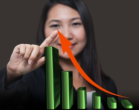 column chart: Business woman touching growthing arrow , Business success concept Stock Photo