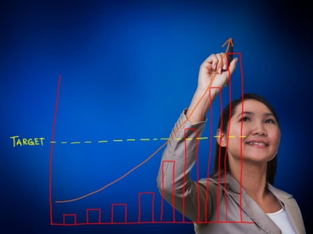Woman hand drawing a growth graph photo