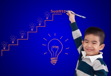 boy drawing step up of idea for success photo