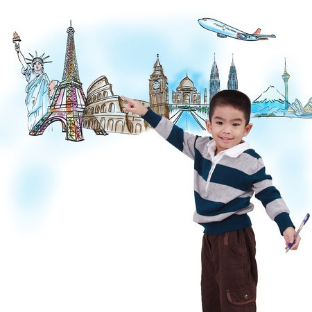 around the world: boy drawing the dream travel around the world in a whiteboard