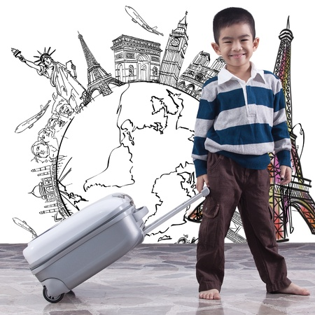 boy pulling bag for dream travel around the world  photo