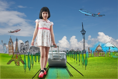 Girl travel around the world, education concept photo