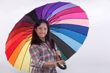umbella: smile asia cute girl with colorfule umbella  Stock Photo