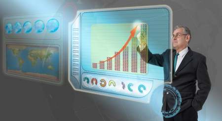 Executive business man touching future dashboard for success
