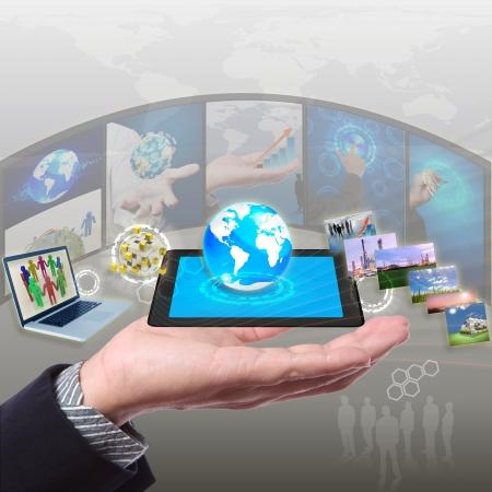 share stramimg information, synchronization, cloud networking Foto de archivo